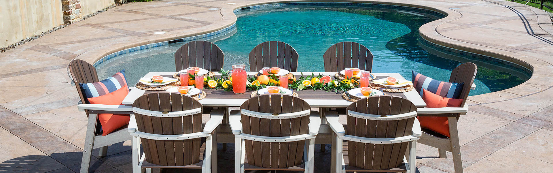 Poly Outdoor Furniture dining set on pool patio