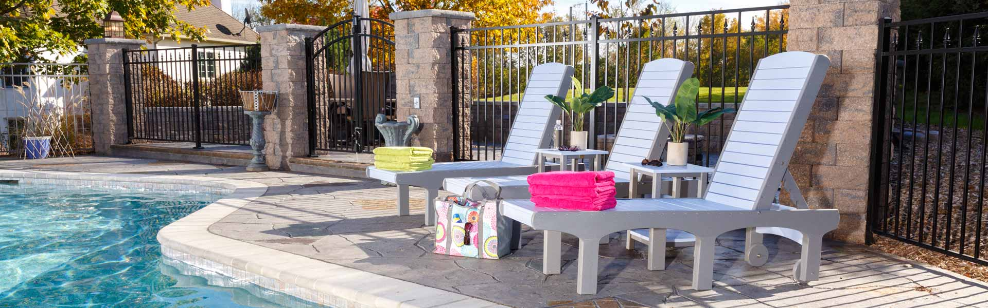 Poly lounge chairs by pool