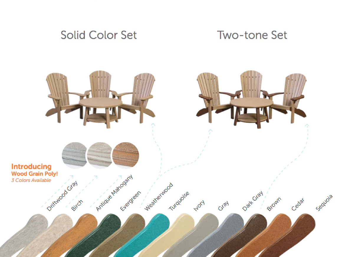 Color options for poly funiture.