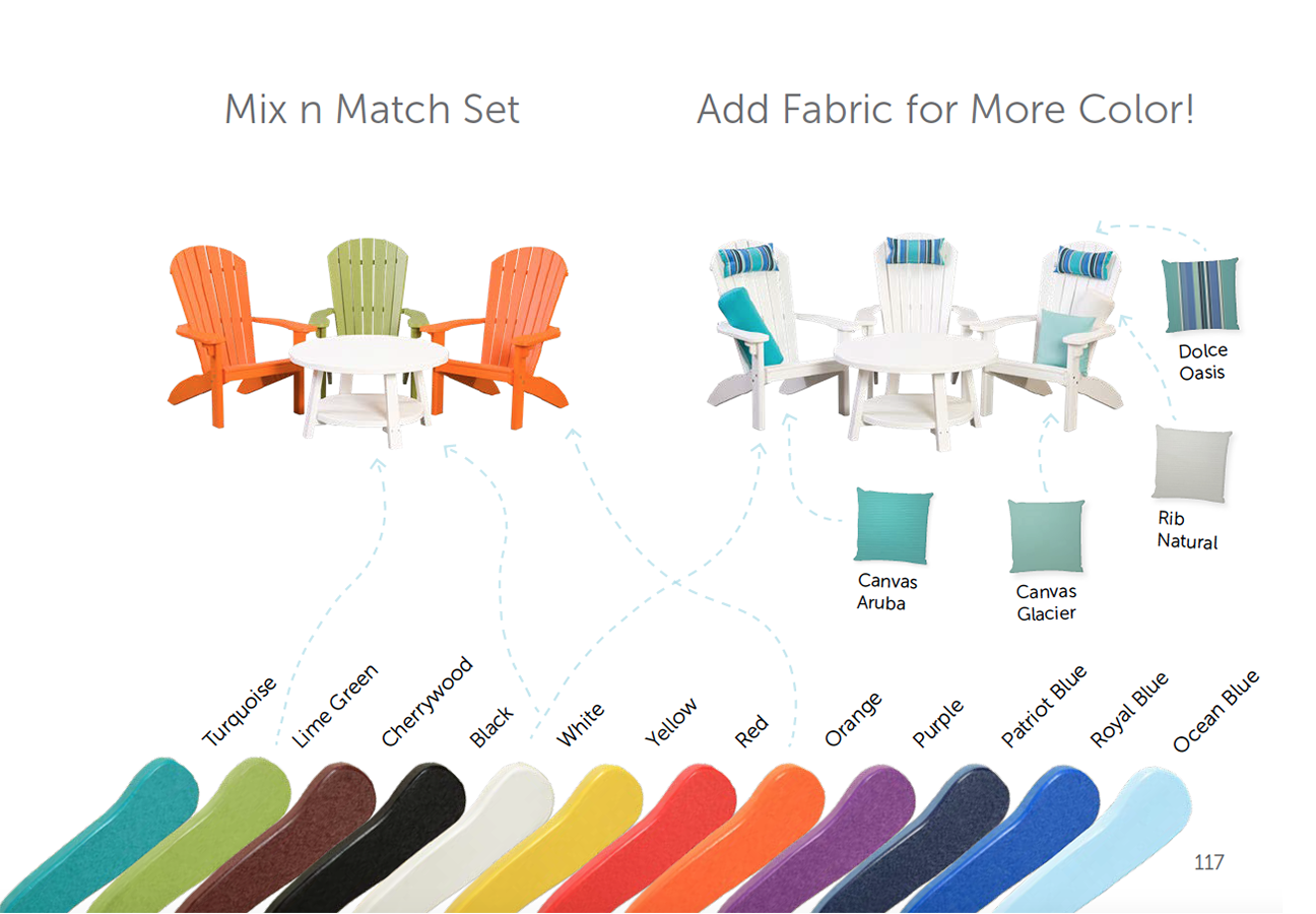 Color options for poly furniture.