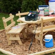 Rectangular Wooden picnic table with 6 detached benches