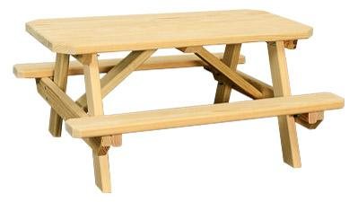 Wooden Child's Picnic Table with Benches Attached