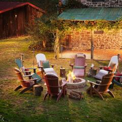 Poly Adirondack chairs around a fire place