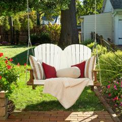 White and Cedar Poly Adirondack double Swing