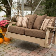Poly porch swing with cushions