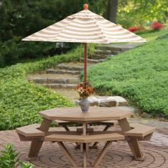 Poly octagonal picnic table with umbrella