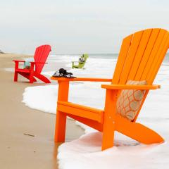 Orange poly adirondack and red poly adirondack