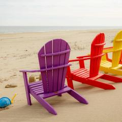 Brightly colored children's poly adirondack chairs