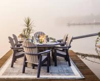 Patriot blue on Driftwood Gray SumerSide Fire Table with Great Bay dining chairs