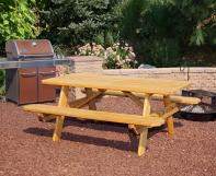 Rectangular wooden picnic table with attached benches