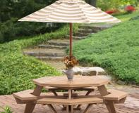 Poly Octagon Picnic Table with Umbrella