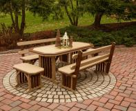 Two tone mission style poly dining table with four benches