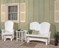 White Poly Single Adirondack Glider and Double Adirondack Glider on Porch