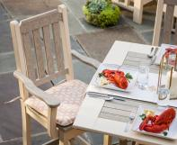 Poly dining chair at poly dining table