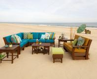Mission Style Poly Furniture on the beach.