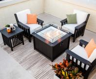 Poly Mission Chairs and Poly Side Table around Poly Fire Pit