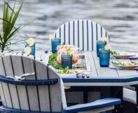 Patriot blue on Driftwood Gray SumerSide Ice Table with Great Bay dining chairs