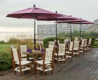 Burgundy outdoor umbrellas with poly furniture dining sets