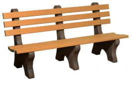 6' Park Bench with Poly Slats