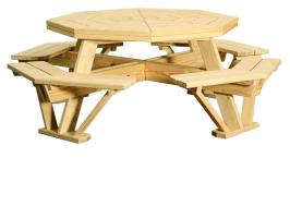 """Wooden Octagon Table with Benches Attached 52"""""""