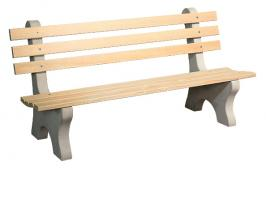 6' Park Bench with Wood Slats