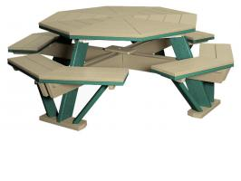 """Poly Octagon Picnic Table with Benches Attached 52"""""""
