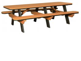 Poly Picnic Table with Benches Attached 3' x 8'
