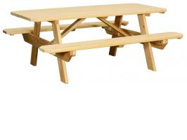 Wooden Tables with Benches Attached